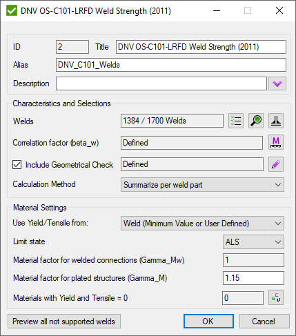 DNV OS-C101-LRFD Weld Strength (2011) | SDC Verifier for Ansys