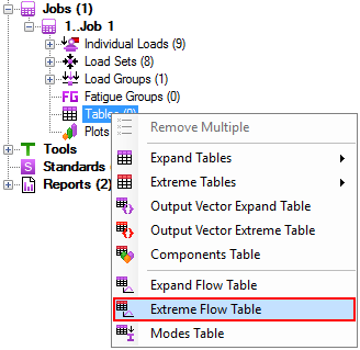 Extreme Flow Table from Tables context menu