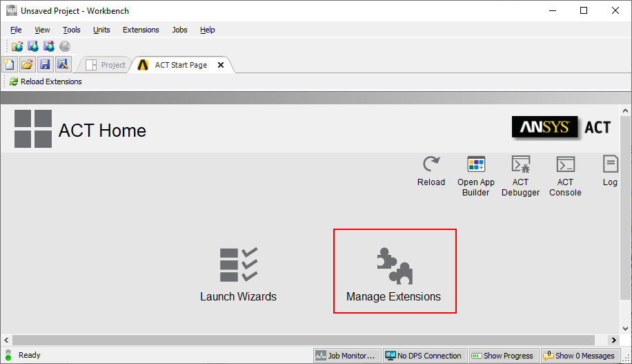 ansys workbench window. Manage extensions