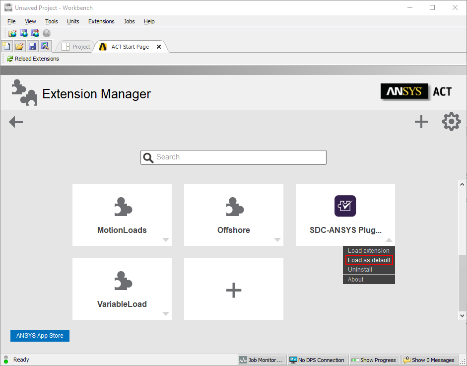 ansys workbench extension manager window