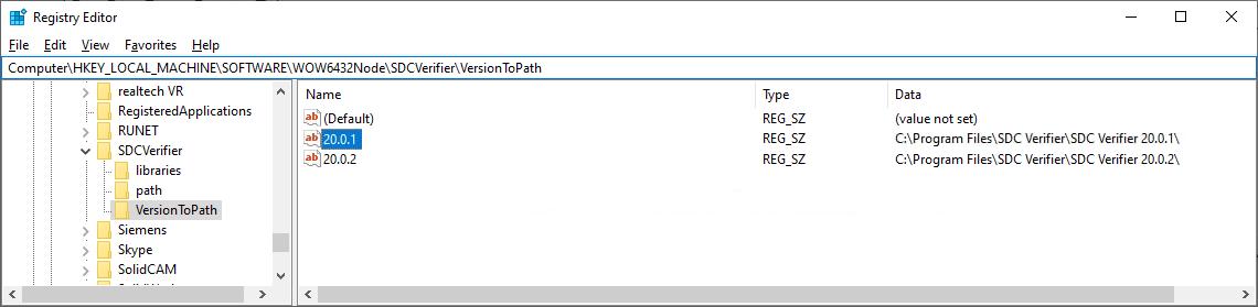 sdc Verifier windows registry entry