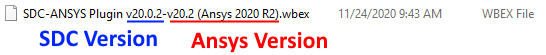 Wbex file name includes Ansys Workbench version