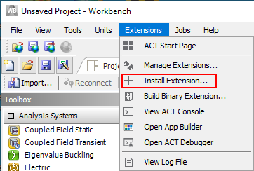 Install ansys wbex extension